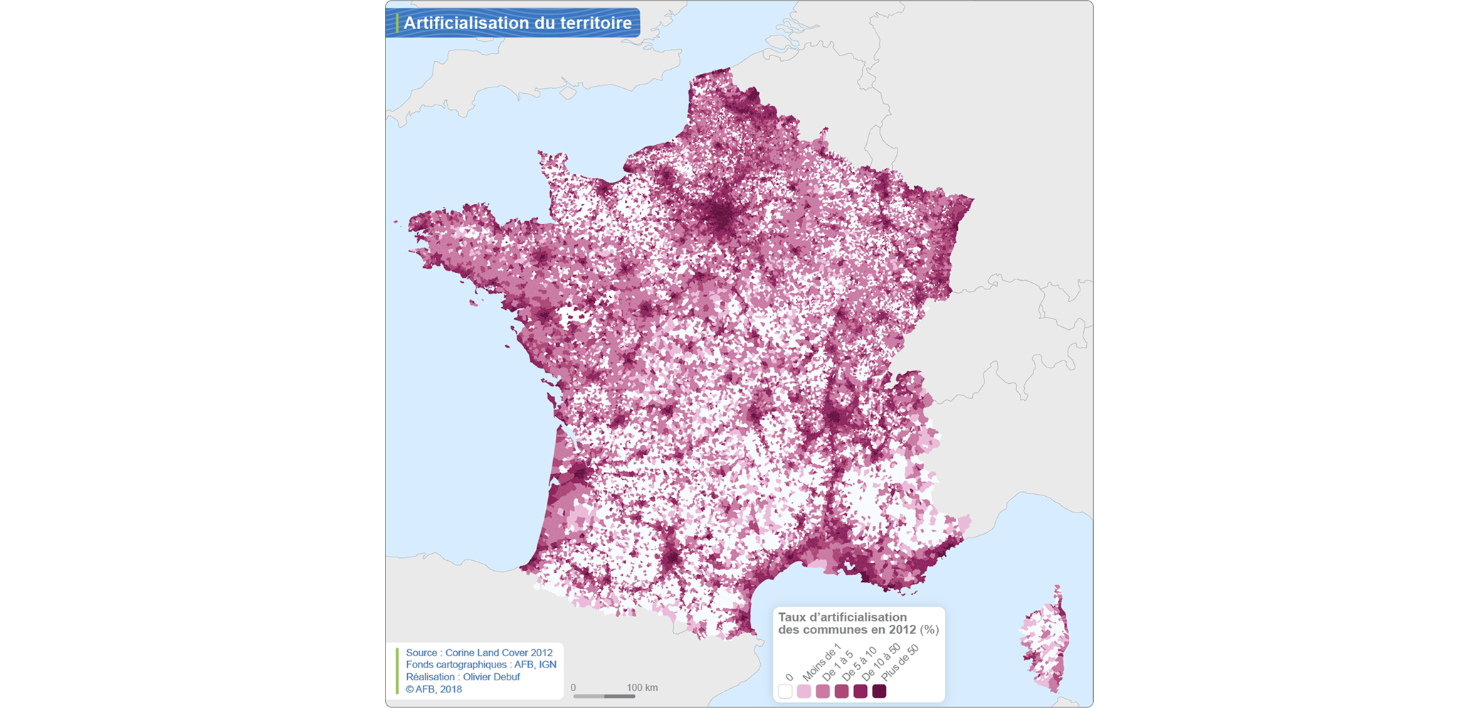 Carte Artificialisation du territoire