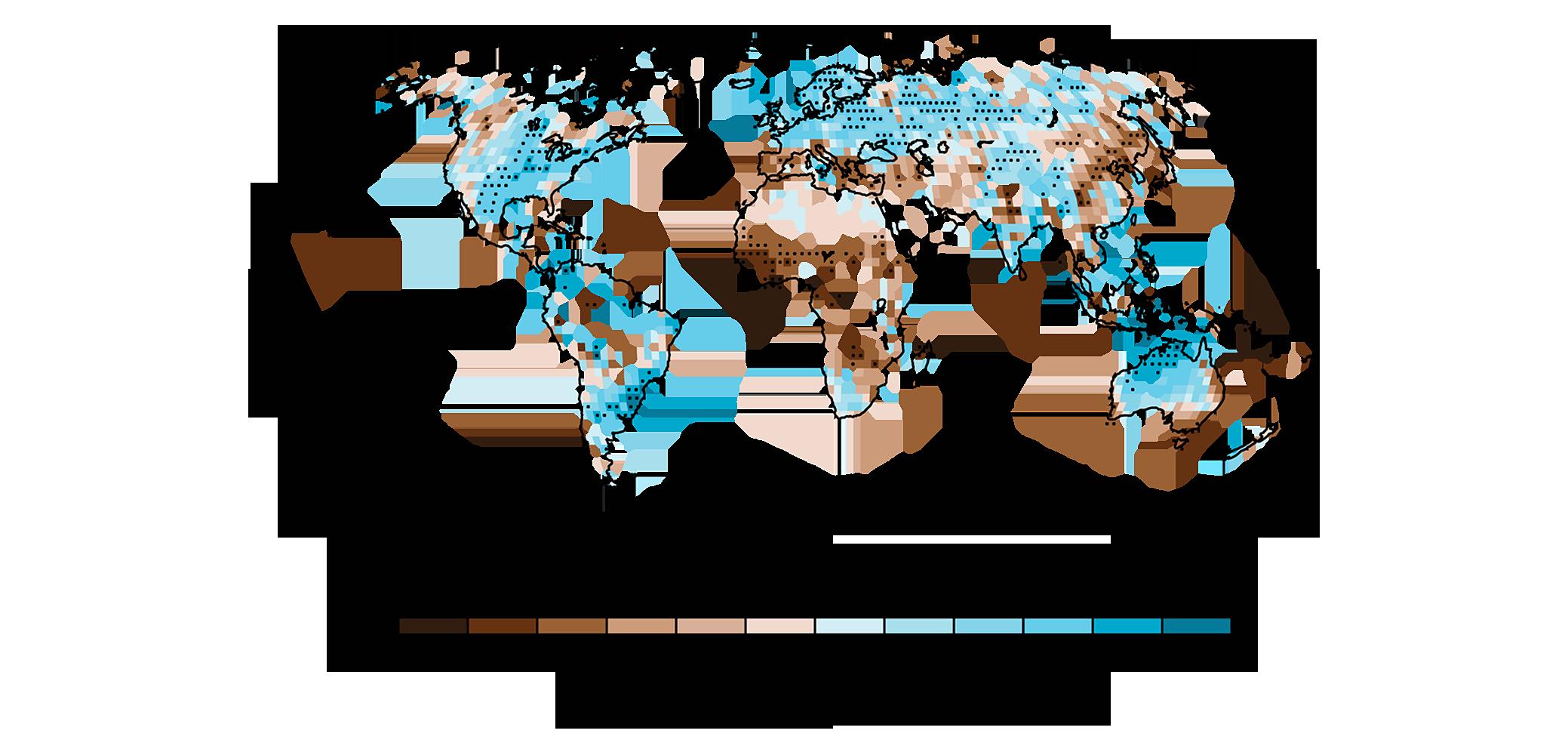 Ãvolution des précipitations annuelles entre 1951 et 2010, GIEC
