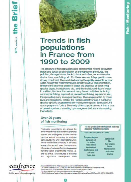Trends in fish populations in France from 1990 to 2009