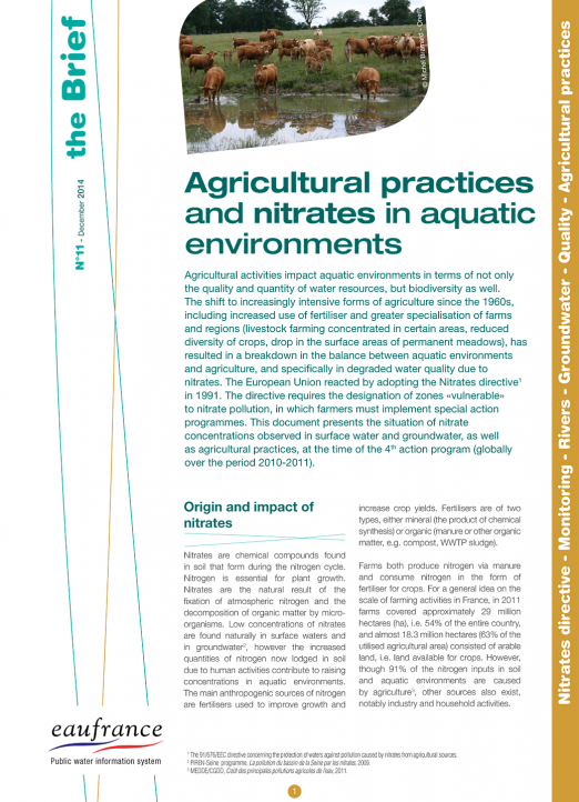Agricultural practices and nitrates in aquatic environments (2010-2011)