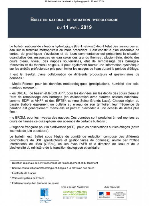 Bulletin de situation hydrologique d'avril 2019