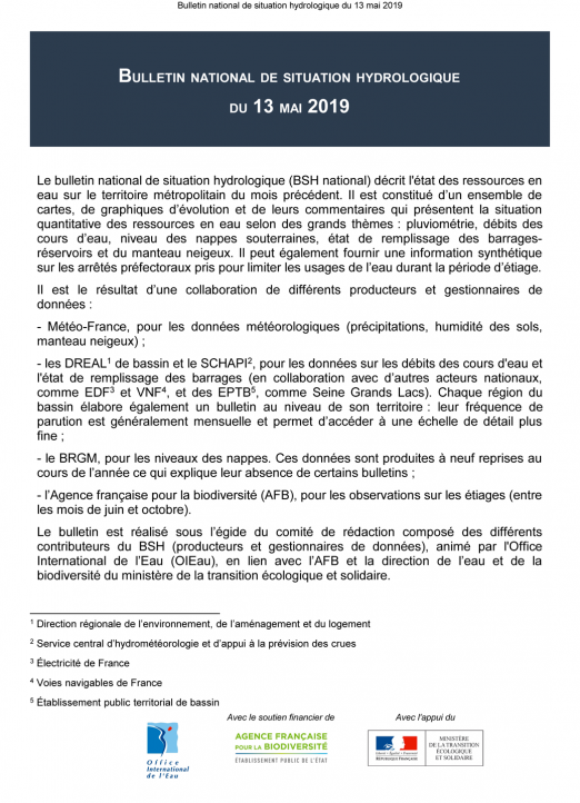 Bulletin de situation hydrologique de mai 2019