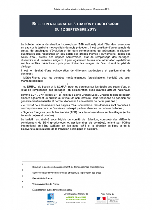 Bulletin de situation hydrologique de septembre 2019