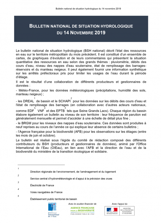 Bulletin de situation hydrologique de novembre 2019