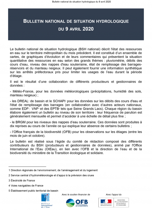 Bulletin de situation hydrologique d'avril 2020